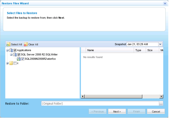 Backing Up and Restoring SQL Server Databases Using CTERA Agent in Cloud Mode 3 Restoring SQL Server Databases Tip This procedure explains how to restore an entire SQL Server database.