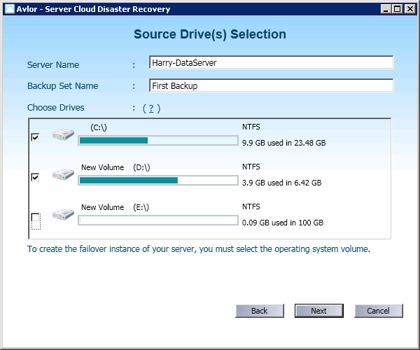 Step 5: Source Drive Selection. A default server name and backup set name will be displayed on this screen. You can change/edit these details as per your requirements.
