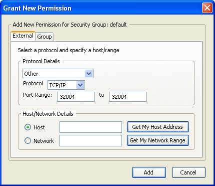 11) In the Grant New Permission pop-up, select Other under Protocol Details and enter the Port Range as 32004 to 32004. Repeat this process for the ports 32007, 6060 and 6061.
