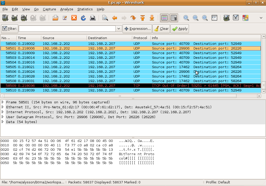 exact offset of the payload, indicated on the XML configuration file, and fills the rest of the payload with random characters. Figure 16 - TrafficGen Generated Packet on Wireshark 3.