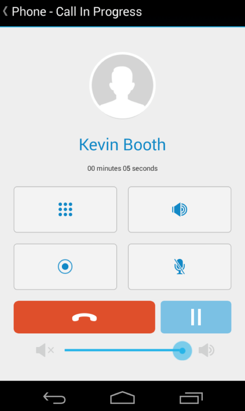 Calls in Progress While in a call, Business Phone provides features you can use to control the call and your smartphone. 1.
