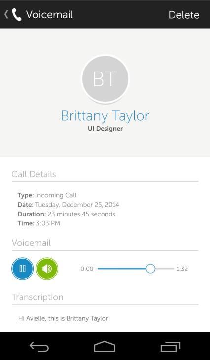 9 Voicemail Listening to Voicemail You can open the Voicemail List from two starting points.