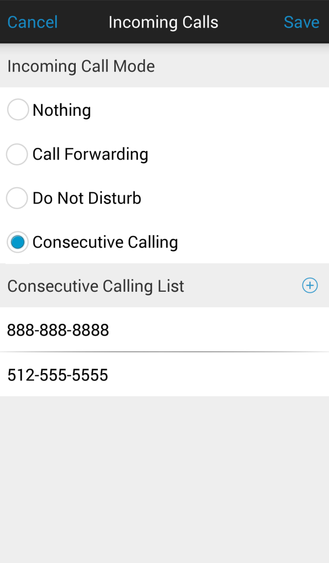 Consecutive Calling This feature allows incoming calls to your Business Phone number to be delivered via your cellular voice service if you are not connected to a data network.