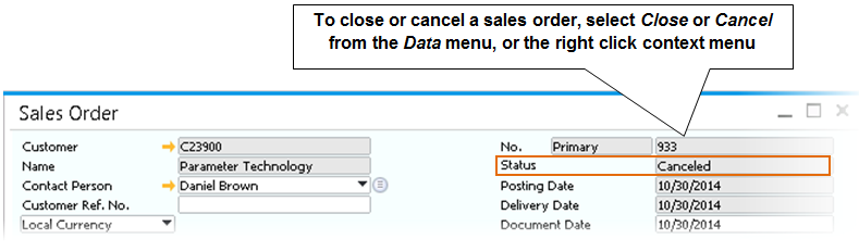 5 Sales Documents and Accounts Receivable Administration System Initialization Document Settings Per Document tab Sales Orders. You can only change orders that are open.