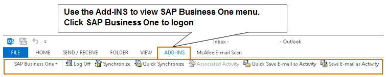 8 Sales Opportunities Figure 8-7: SAP Business One menu in Microsoft Outlook Synchronizing SAP Business One and Microsoft Outlook SAP Business One has contact persons, activities, and documents.