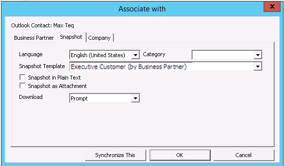 8 Sales Opportunities You can select a snapshot and generate it in one step by displaying the contact in Microsoft Outlook and choosing SAP Business One Associate with.
