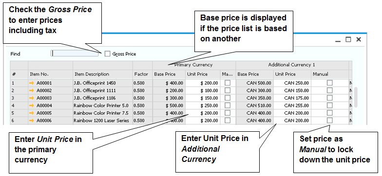 12 Inventory each unit, the system will automatically multiply or divide the price of the base unit based on the ratio to the other units in the UoM group.