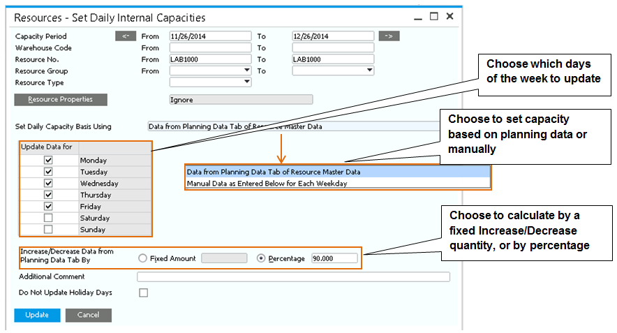 13 Production Figure 13-2: Set Daily Capacity based on Planning Data Resource Cost.