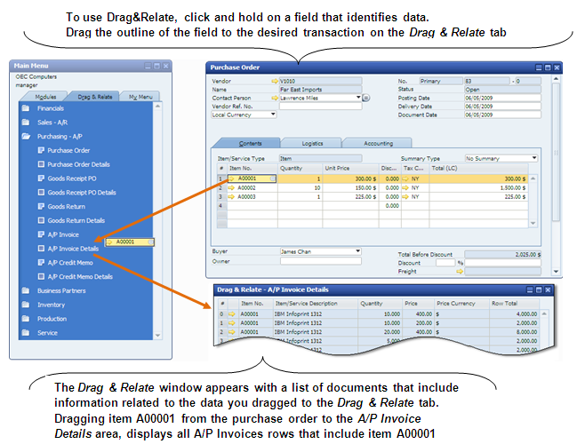 2 The Personality of SAP Business One Drag&Relate The Drag&Relate feature is an interactive tool that allows you to display a wide array of real-time information about your business quickly and
