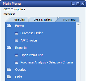 2 The Personality of SAP Business One My Menu and My Shortcuts You can increase your navigation efficiency by using the My Menu and creating user-defined keyboard shortcuts for one-step access to