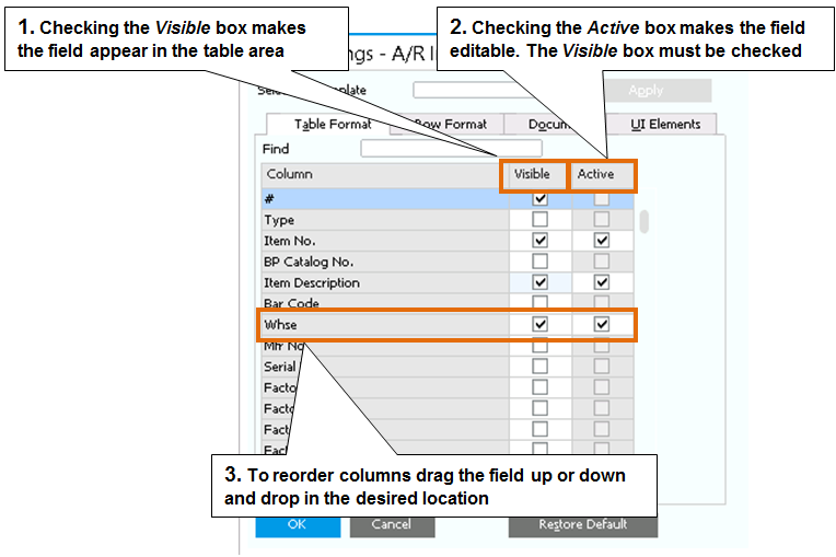 2 The Personality of SAP Business One The form settings are saved by user. To save time, login using a user from each role, and make all the settings you need.