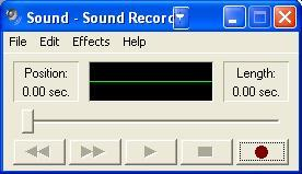 Screenshot 17 - Windows Sound Recorder 2. Now click the record button to record your system prompt. 3. Now save the file using the Save As command.