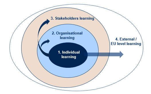 Level 1: Individual learning The first level of learning refers to the staff members of the partner organisations who have increased their capacity by being directly involved in all the activities of
