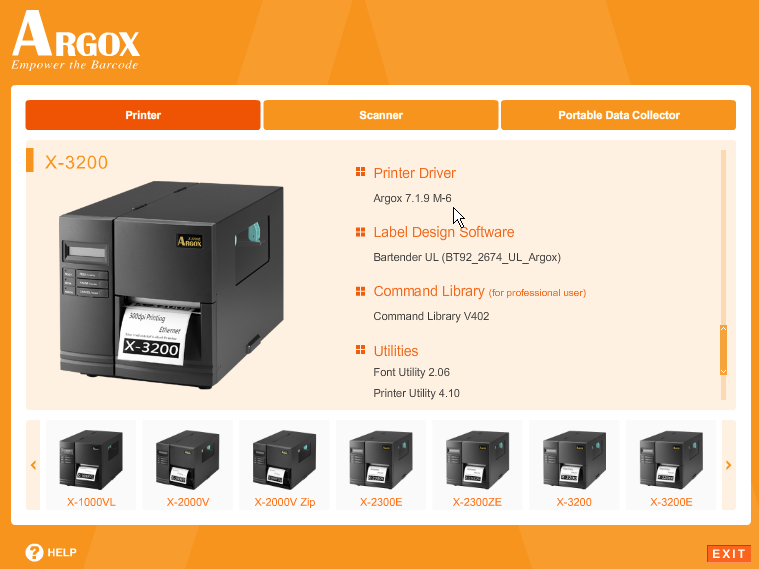 3. Choose Industrial Barcode Printers on the screen, go to X-3200