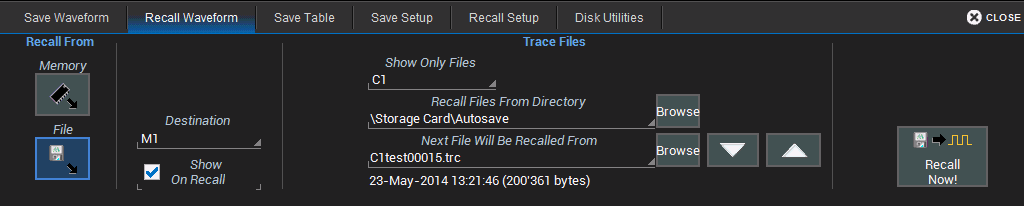 Operator's Manual Recall Waveform Choose File > Recall Waveform from the menu bar. NOTE: Only.trc files saved in binary format can be recalled into the oscilloscope. RECALL WAVEFORM FROM MEMORY 1.