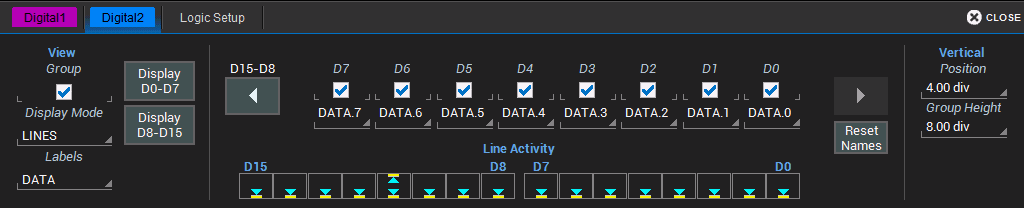 The Digital set up dialog has two tabs each corresponding to one of two possible digital groups, labeled Digital1 to Digital2, which correspond to buses.