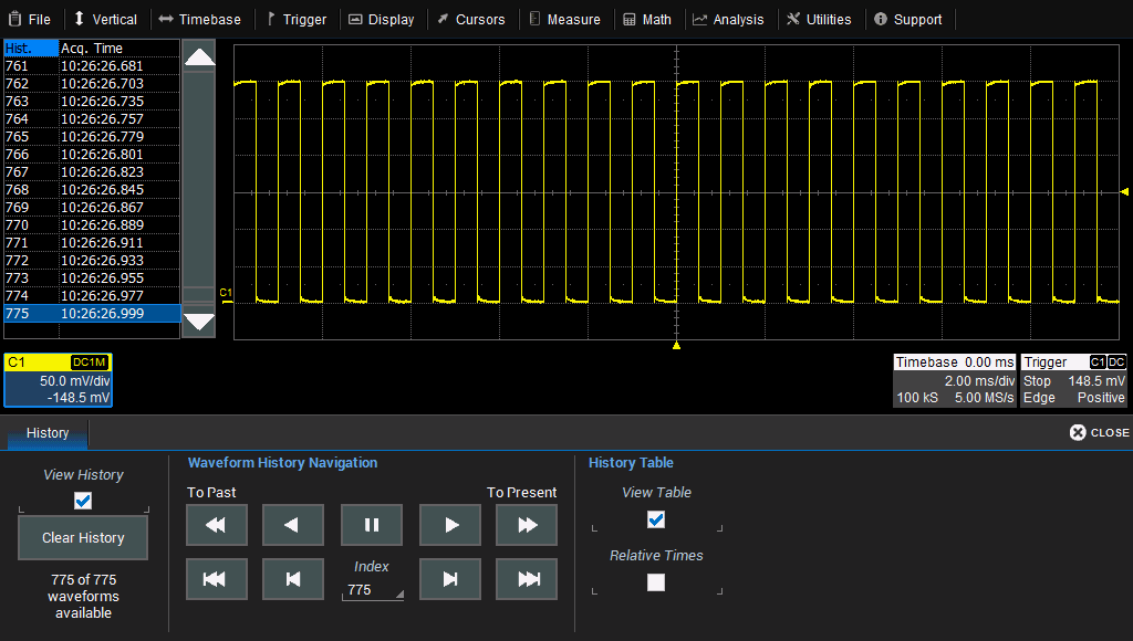 WaveSurfer 3000 Oscilloscopes History Mode History Mode allows you to review any acquisition saved in the oscilloscope's history buffer, which automatically stores all acquisition records until full.