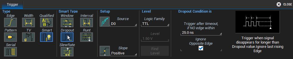 Operator's Manual DIGITAL DROPOUT 1. Choose the Source digital line. 2. Choose the Slope (edge) to watch for transitions. 3. Choose the Logic Family that marks the transition threshold.