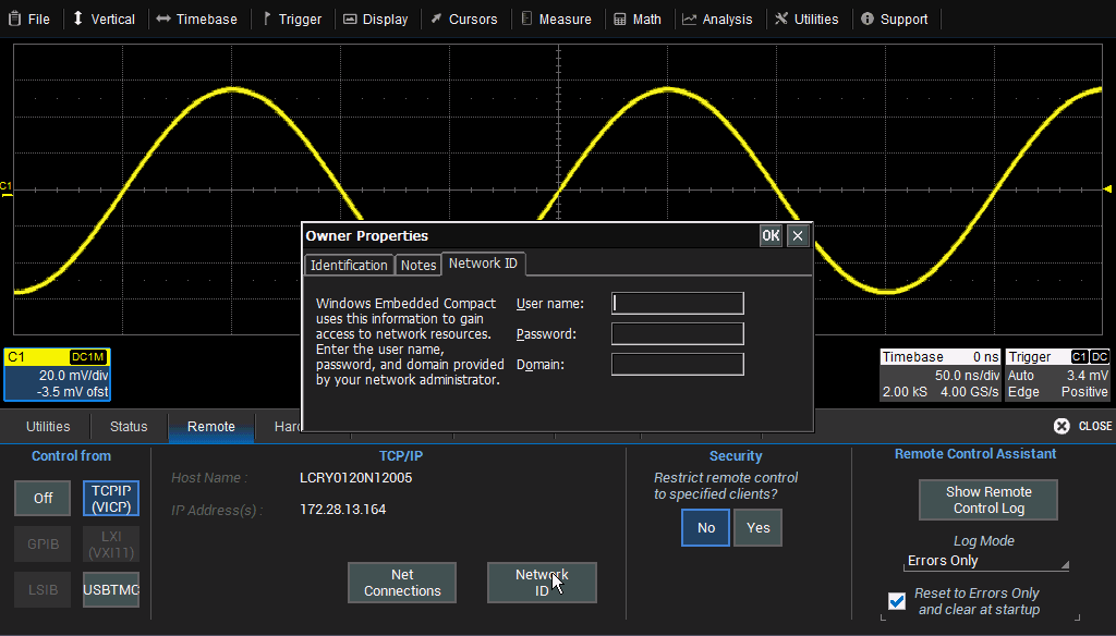 WaveSurfer 3000 Oscilloscopes 5. On the Ethernet Driver Settings dialog, choose Specify an IP Address. If assigning a Name server, leave Obtain an IP address via DHCP. 6.