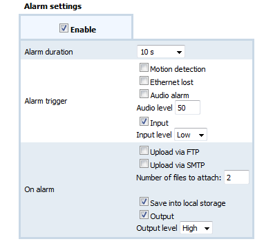 9.3.2. Alarm settings Alarm duration Specify recording to local storage on alarm/alarm output duration.