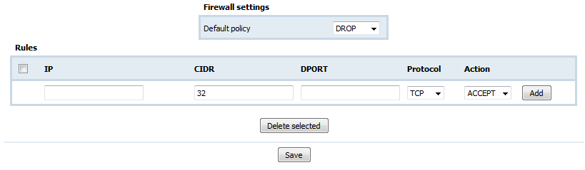 9.6.3. Firewall Default Policy IP CIDR DPORT The default state of the firewall.