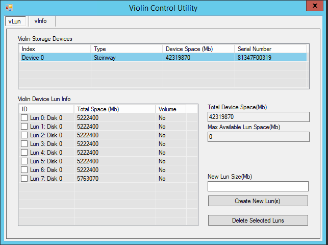 Figure 6: Violin Control Utility to create and manage Violin vluns 5 Hyper-V and Scale-Out File Server Cluster Configuration Settings 5.
