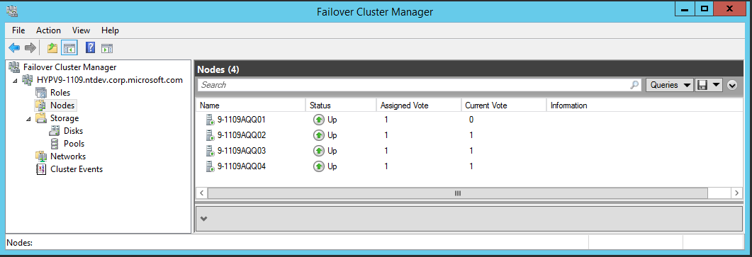 5.1.1 4-Node Hyper-V Server Cluster Four Hyper-V servers (\\9-119AQQ1, \\9-119AQQ2, \\9-119AQQ3 and \\9-119AQQ4) are added into the Hyper-V cluster \\HYPV9-119.