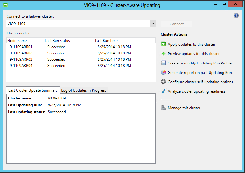 Figure 16. Cluster Aware Update Status for the File Server Cluster \\VIO9-119 5.4 Software Configurations 5.4.1 Scale-Out File Server Cluster settings 5.4.1.1 Symmetric Storage vs.