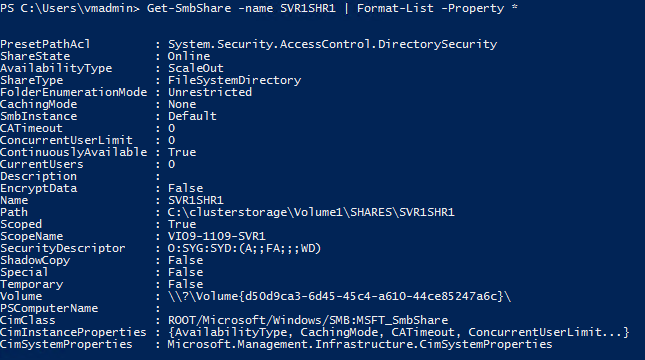 5.4.1.2 SMB Witness Client The following screen copy including the output of Get-SmbWitnessClient shows the SMB witness client registration status in this file server cluster under active workloads.