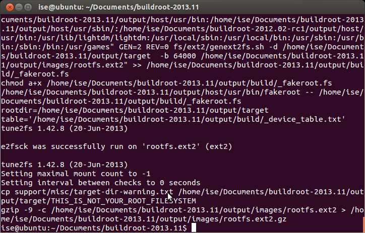 3.4 Compiling buildroot. In the Terminal Window executes the following command: ise@ubuntu:~/documents/buildroot-2013.