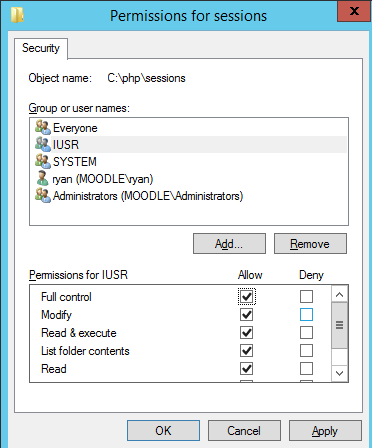 Now enter IUSR which is the default user that runs the website in IIS. The user will now appear in the permissions tab. By default the IUSR will only have view access.