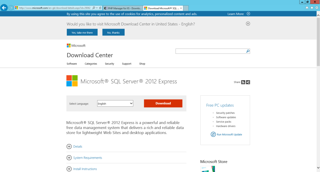 Installing SQL Server 2012 Download SQL 2012 Express with Management Studio. http://www.microsoft.