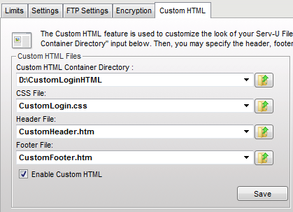 Using custom HTML The following fields are used by the Custom HTML feature: Custom HTML Container Directory: This directory contains all of the files used by the custom HTML, including all images,