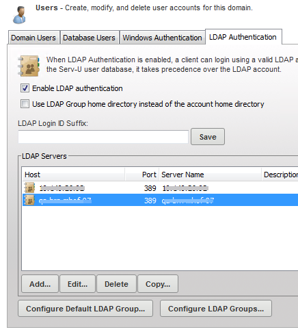 Using a list of LDAP servers be the server from which the associated LDAP user will draw its full name, email address and other attributes.