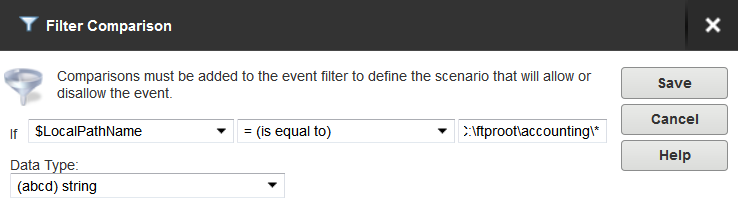 Server details The filter comparison is the $Name variable, and the value to compare is the user name, such as ProductionLineFTP: You can also filter for events based on specific folders, using