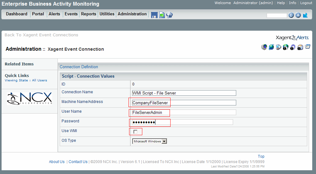 Set up connection parameters, providing Machine Name, User Name and Password.