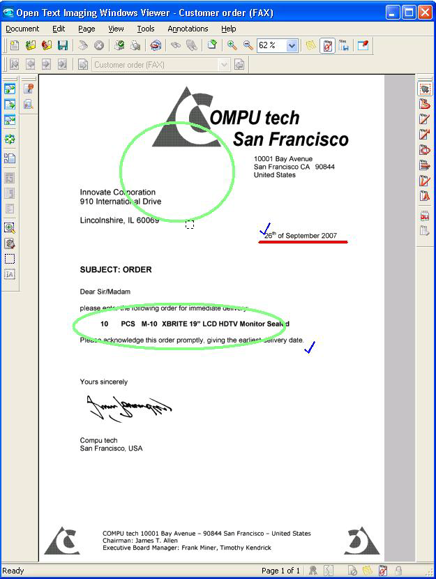 32 Open Text Archiving & Document Access White Paper Figure 18 Open Text Imaging Windows Viewer with Annotation Form overlay for SAP documents Some of the documents produced by SAP applications (such