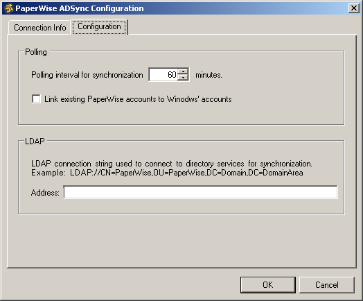3. In the Connection Info tab, enter the user name and password for the account you want ADS to use to access the SQL Server database.