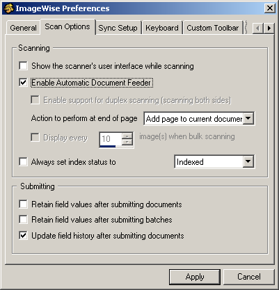 When ImageWise is run the first time the Select Scanner window is displayed. The names of installed scanner drivers appear in the list box.