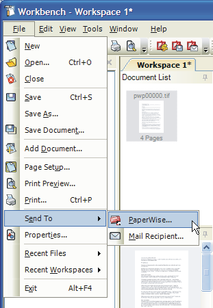 Send Options PaperWise Once a new document has been created you can send it to PaperWise using the Send To option on the File menu.
