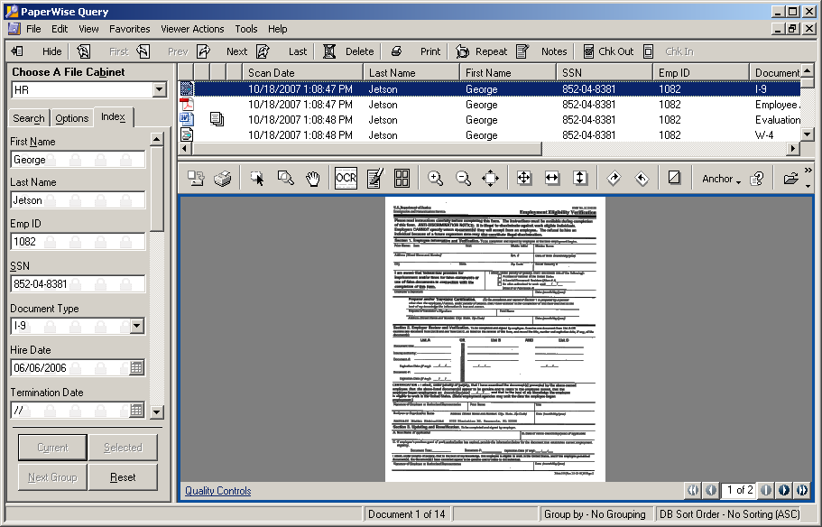 Users search for documents in PaperWise using an application called Query. Query presents an interface that allows the user to enter information into one or more index fields.