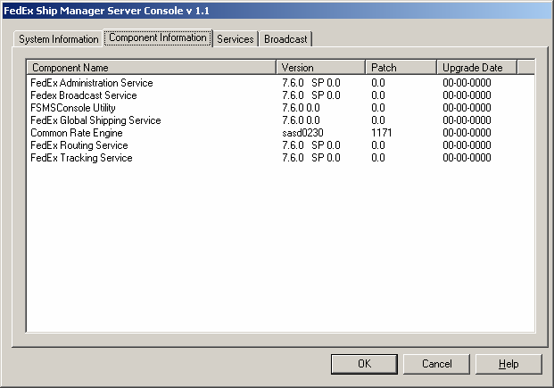 Chapter Five: Using FSMS Utilities The Component Information tab provides service level detail about the FSMS services including the base version,