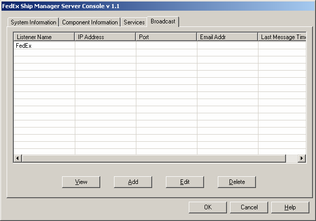 Chapter Five: Using FSMS Utilities The Broadcast tab is used to set up alerts to be received by the customer via a listening application or via e-mail.