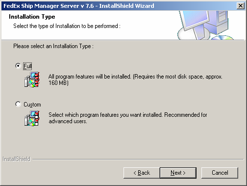 Chapter One: Setting Up FSMS 6. Select the type of installation to be performed.