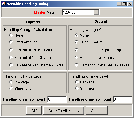 Chapter One: Setting Up FSMS The Handling Charge screen consists of options for both FedEx Express and FedEx Ground shipping.