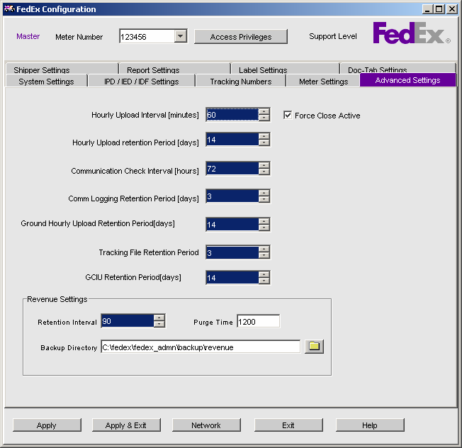 Chapter One: Setting Up FSMS Advanced Settings The Advanced Settings window is used to set communications and revenue parameters.