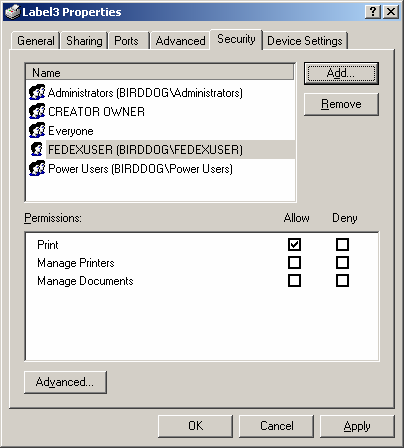 Chapter One: Setting Up FSMS 3. Select FEDEXUSER from the Select Users or Groups section of the window. Click Add to save your selection. FEDEXUSER is displayed in the bottom portion of the window.