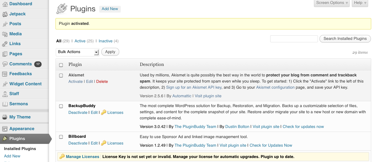 Navigate to Plugins > Installed Plugins from the WordPress dashboard. 3.