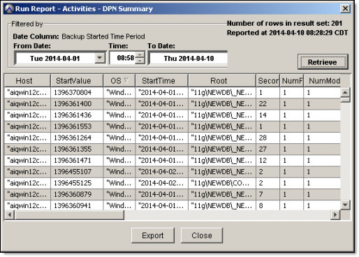 Understanding DPN Summary Reports 4. Click Export to save the report to a comma delimited (.cvs) file. Example DPN Summary entry The DPN Summary report provides statistics for server activities.