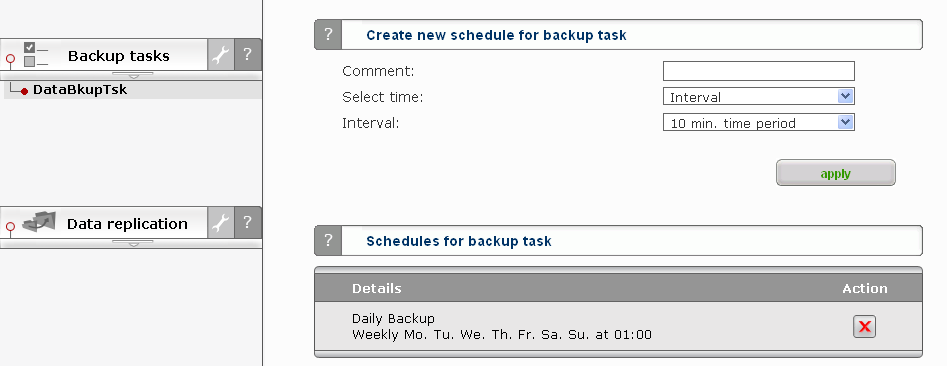 back to Backup Tasks and expand the task; it shows the start time, log and a short description of